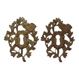 Pair of Antique Victorian Brass Cut Out of Keyhole Covers For Sale