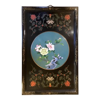 1920s Vintage Asian Cloisonne Wood Panel Wall Hanging With Black Painted Background & Teal Vignette of Flowers and Birds For Sale