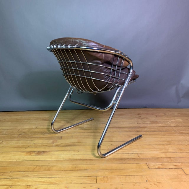 Metal Gaston Rinaldi 1970s Leather Wireframe Armchair, Rima Italy For Sale - Image 7 of 12