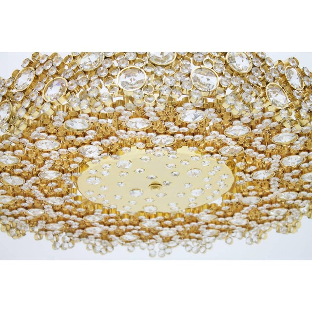 Brass Large Gilded Brass and Crystal Glass Chandelier by Palwa, Germany 1960s For Sale - Image 7 of 11