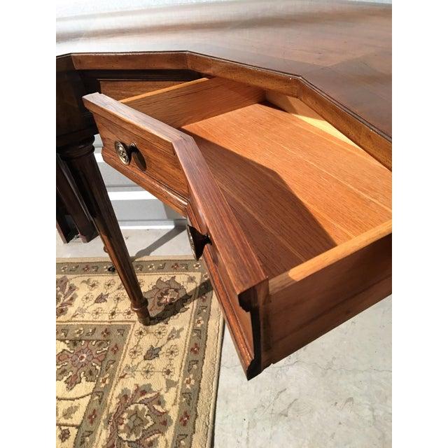 "Vintage Thomasville Drop-Leaf ""Horseshoe"" Desk - Image 4 of 10"