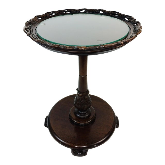 Vintage Glass Top Lattice Pie Crust Side Table - Image 1 of 9