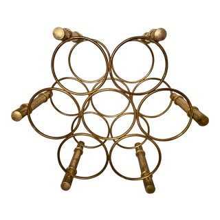 Mid Century Modern Brass Faux Bamboo Wine Rack For Sale