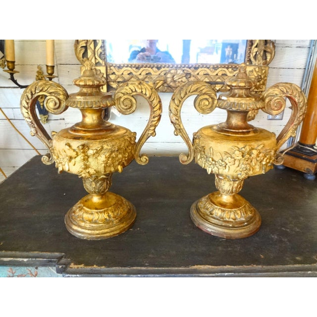 Pair of 18th Century Italian Gilt Wood Urns For Sale - Image 11 of 11