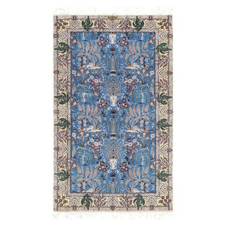 """Persian Pasargad N Y Nain Silk & Wool Rug - 3'7"""" X 5'11"""" For Sale"""