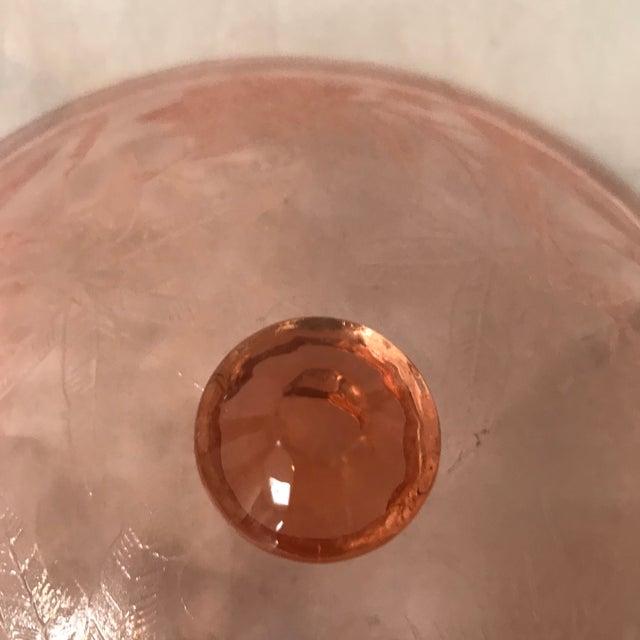1930s 1930s Etched Pink Depression Glass Lidded Floral Design Jeannette Glass Co. Serving Bowl For Sale - Image 5 of 8