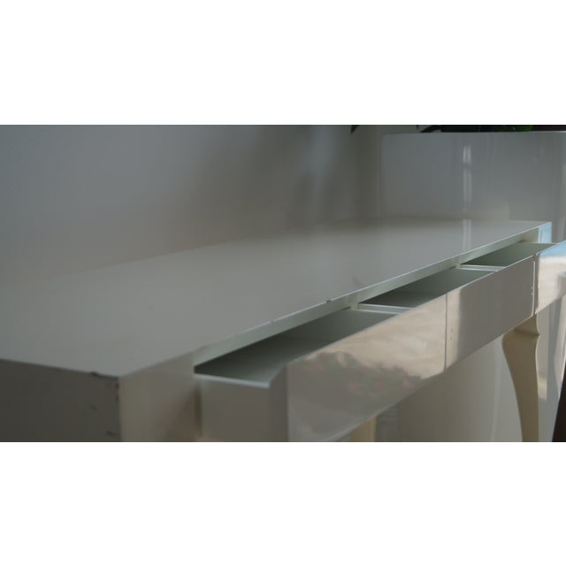 2000s Reeves Design Ivory Wood Console Table For Sale - Image 5 of 7