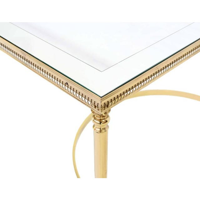 Mid-Century Modern Brass Mirrored Frame Glass Top Coffee Table For Sale - Image 3 of 7