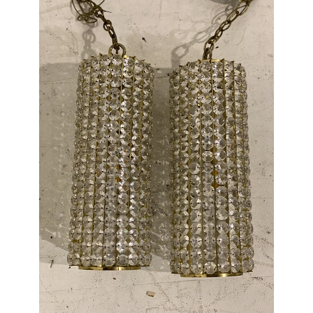 Glass Mid-Century Crystals Light Fixtures - a Pair For Sale - Image 7 of 7