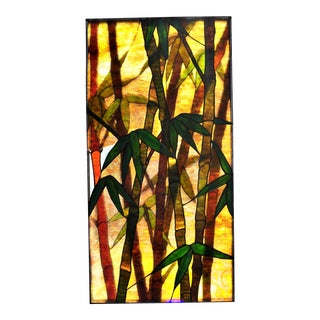 Antique Tiffany Studios Attributed Layered Stained Glass Window, 3d Bamboo Forest For Sale