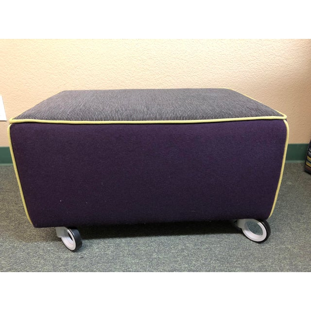 Modern Gervasoni for Environmental Designs Purple Fabric Upholstered Ottoman For Sale - Image 10 of 10