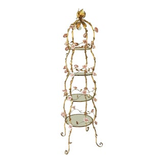 Italian Florentine Tole Gold Gilt Lighted Etagere