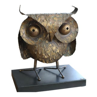 1967 Brutalist Curtis Jere Signed and Dated Owl Sculpture For Sale