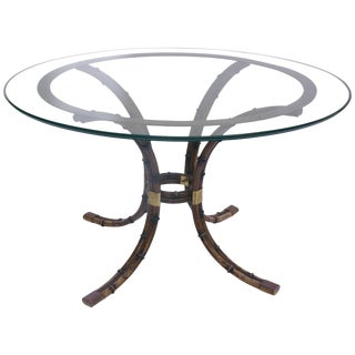 1970s French Maison Jansen Bamboo and Gilded Brass Pedestal Table