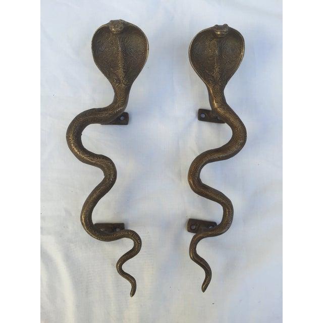Brass Cobra Door Handles - A Pair - Image 2 of 8