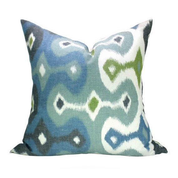 "A pair of custom designer 20""x20"" pillow covers in a Martyn Lawrence Bullard for Schumacher woven Ikat fabric. The pattern..."