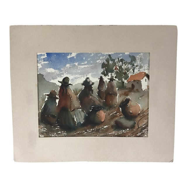 Vintage Peruvian Watercolor Painting By Hugo Lecaros For Sale