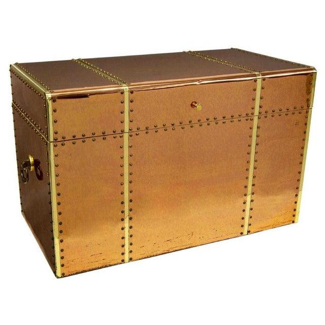Vintage Copper & Brass Storage Trunk For Sale In Denver - Image 6 of 6