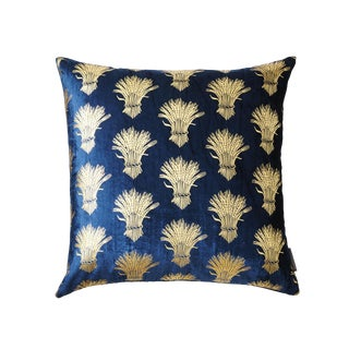 Weald Blue Silk Velvet Pillow With Gold Foil Accents For Sale
