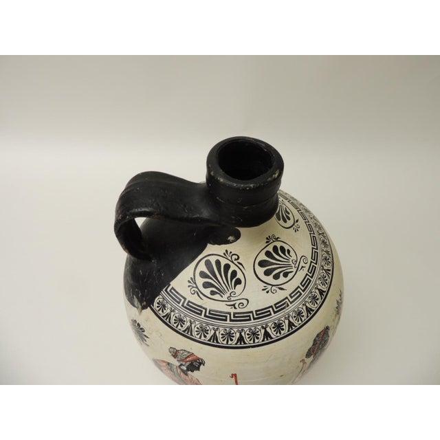 Vintage Encaustic Hand Painted Terracotta Greek Water Jug With Handle For Sale - Image 4 of 6
