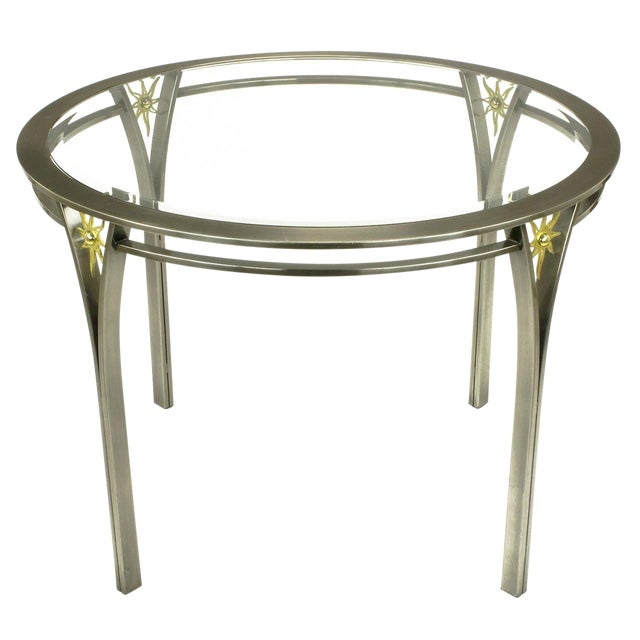 DIA Round Brushed Steel and Brass Sunburst Dining Table For Sale