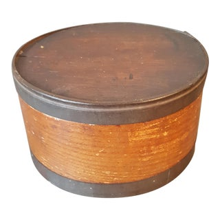 Antique Wood And Metal Cheese Box