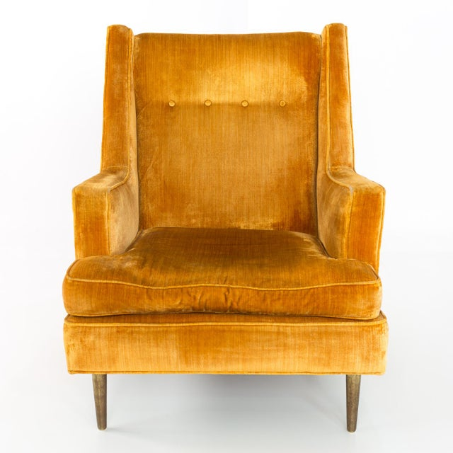 Metal Mid Century Edward Wormley for Dunbar Chair and Ottoman For Sale - Image 7 of 13