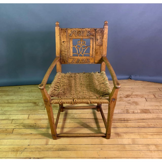 1823 Danish Carved Pine and Rope Armchair, Crowned Monogram For Sale - Image 4 of 12