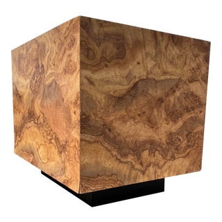 Modern Faux Burlwood End Table For Sale