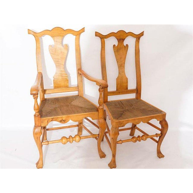 Maple Six Chippendale Style Tiger Maple Dining Chairs For Sale - Image 7 of 9