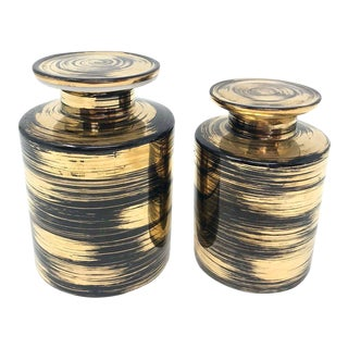 Set of Japanese i.w. Rice Porcelain Black and Gold Jars - a Pair For Sale