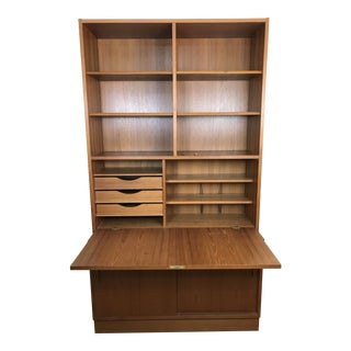 1960s Danish Modern Hundevad Bookcase With Drop Front Desk For Sale