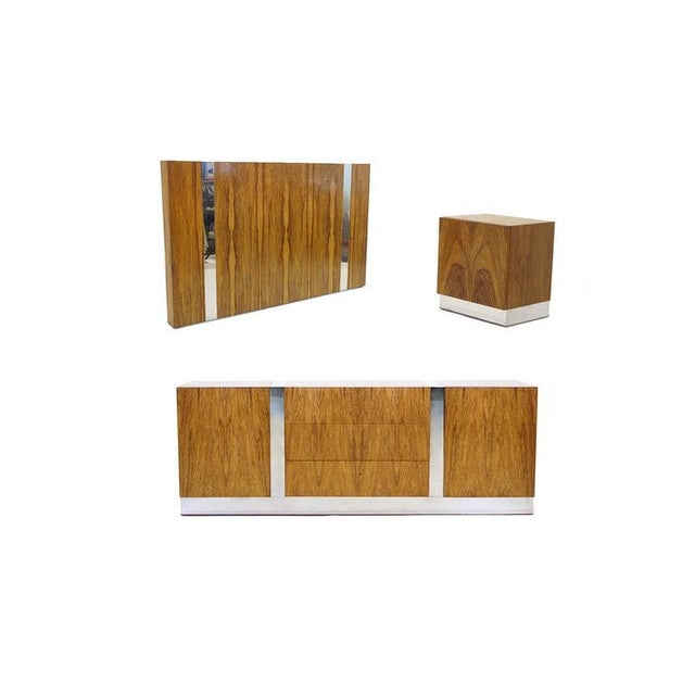 Modern Milo Baughman for Thayer Coggin Rosewood With Chrome Trim Queen Size Headboard For Sale - Image 3 of 5