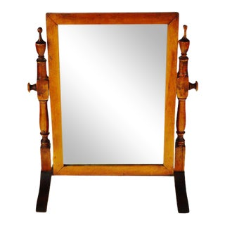 Vintage Wood Table Top Shaving Mirror For Sale