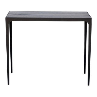 "Contemporary ""Esquisse"" Ebonized Grooved Oak Side Table For Sale"