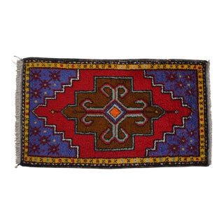 Turkish Yastik Petite Rug Hand Made Bright Colors Mat - 20'' X 35'' For Sale