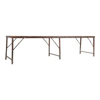 1950s Vintage Army Teak Folding Table For Sale