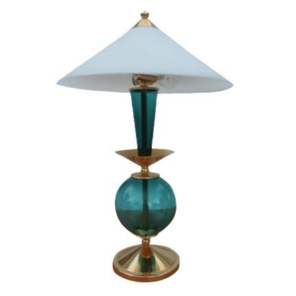 Contemporary Blue and Brass Lacquered Table Lamp - Image 1 of 11