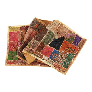 Hand Embroidered Beaded India Patchwork Runner or Wall Hanging For Sale
