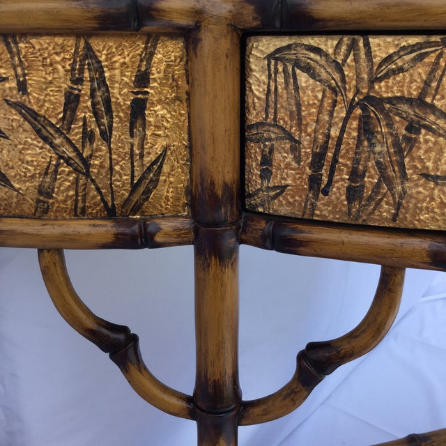 Gold Gold and Faux Burnt Bamboo Console Table For Sale - Image 8 of 10