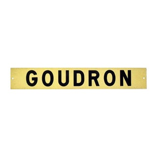 20th Century French Goudron Road Sign For Sale