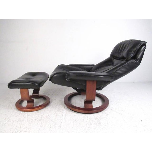 Danish Modern Leather Recliner & Ottoman - A Pair For Sale In New York - Image 6 of 11