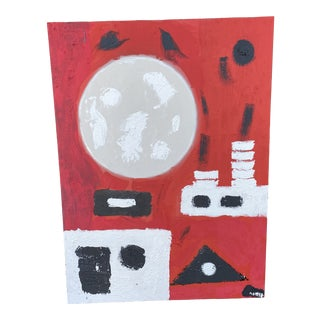Large Contemporary Red Abstract Painting For Sale