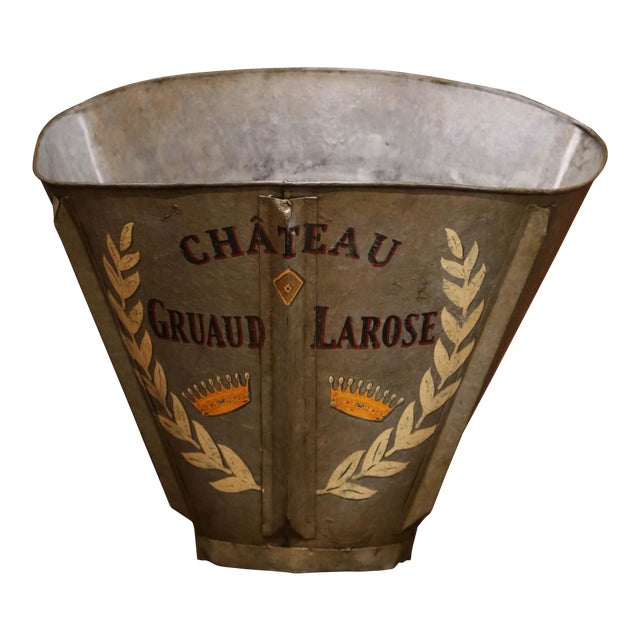 19th Century French Hand Painted Tole Grape Basket From Bordeaux For Sale