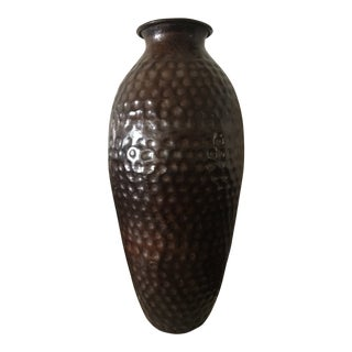Large Vintage Hammered Copper Jar For Sale