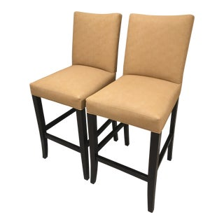 Faux Animal Skin Bar Stools - A Pair For Sale