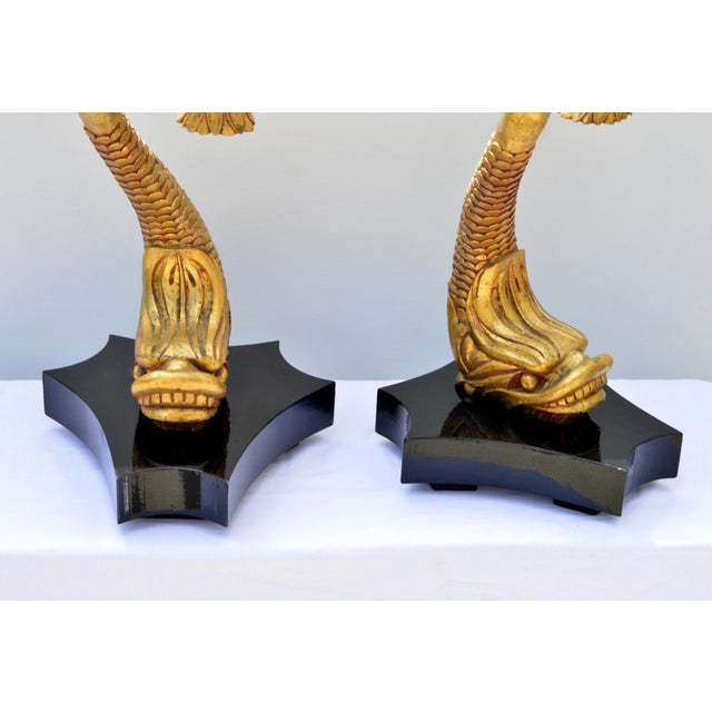 Figurative Giltwood Dolphine Lamps - a Pair For Sale - Image 3 of 10