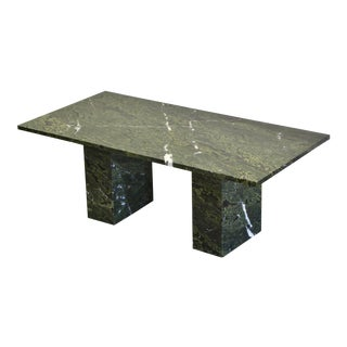 1980s Modern Green Marble Coffee Table For Sale