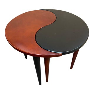 1980's Asian Modern Yin Yang Side End Tables - 2 Pieces For Sale