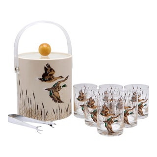 Ice Bucket With Matching Tumblers - Set of 8 For Sale